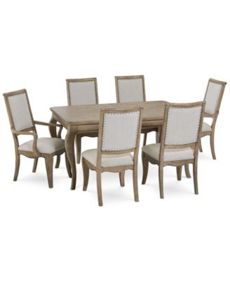 Martha Stewart Bergen Dining Furniture, 7-Pc. Set (Expandable Dining Table, 4 Side Chairs & 2 Arm Chairs), Created for Macy's