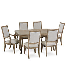 CLOSEOUT! Martha Stewart Bergen Dining Furniture, 7-Pc. Set (Expandable Dining Table, 4 Side Chairs & 2 Arm Chairs), Created for Macy's