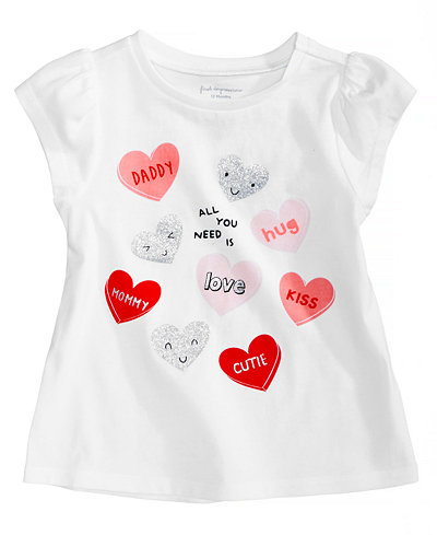 First Impressions Hearts-Print Cotton T-Shirt, Baby Girls, Created for Macy's