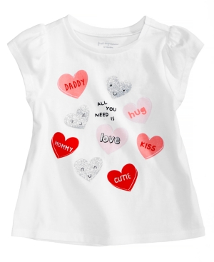 First Impressions HeartsPrint Cotton TShirt Baby Girls (024 months) Created for Macys