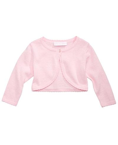 Bonnie Baby Picot-Trim Cotton Flyaway Cardigan, Baby Girls