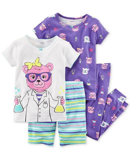 4-Pc. Science-Print Cotton Pajama Set, Baby Girls
