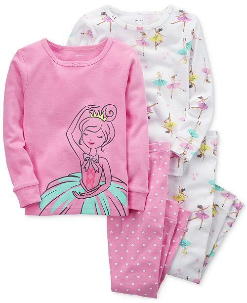 f43091c6d Carter s 4-Pc. Ballerina-Print Cotton Pajamas