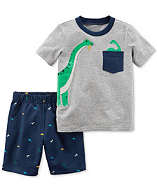 Carter's Dino-Print Cotton T-Shirt & Shorts Set, Baby Boys