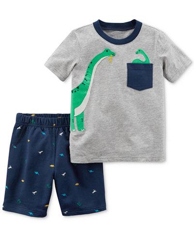 Carter's Dino-Print Cotton T-Shirt & Shorts Set, Baby Boys
