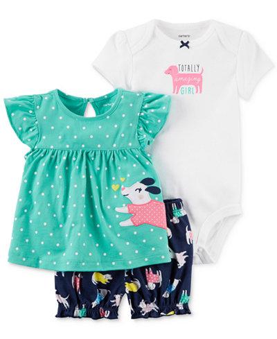Carter's 3-Pc. Shirt, Bodysuit & Shorts Set, Baby Girls