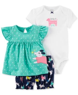 Carters 3Pc Shirt Bodysuit  Shorts Set Baby Girls (024 months)