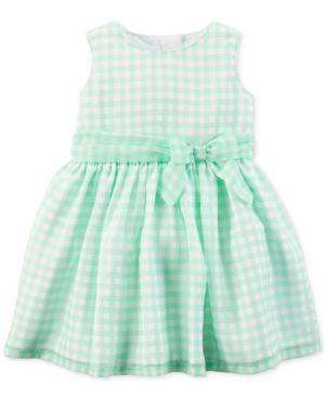 Carter's Green Check-Print Dress, Baby Girls 5211572