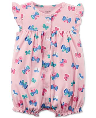 Carter's Butterfly-Print Cotton Romper, Baby Girls
