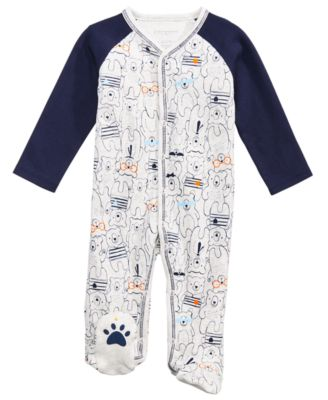 Baby Boys Bear-Print Cotton Footed Coverall, Created for Macy's