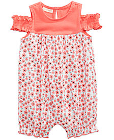 First Impressions Floral-Print Cotton Cold-Shoulder Romper, Baby Girls, Created for Macy's