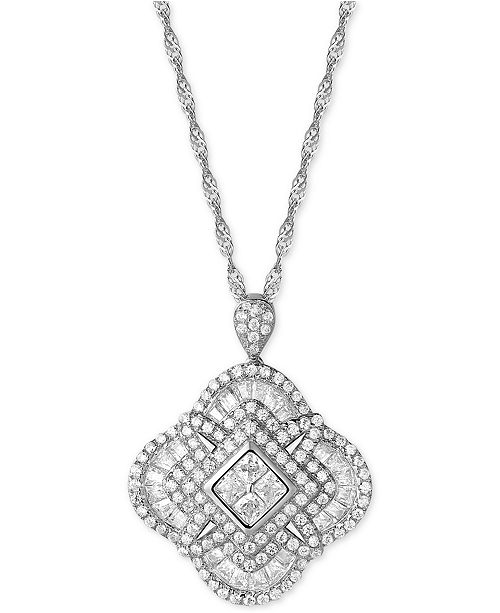 Macy's Cubic Zirconia Clover Pendant Necklace in Sterling Silver