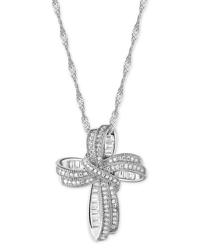Cubic Zirconia Cross Pendant Necklace in Sterling Silver