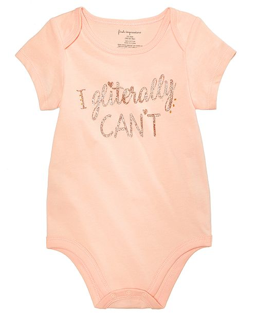7444c18dc First Impressions Baby Girls Gliterally Can t Cotton Bodysuit