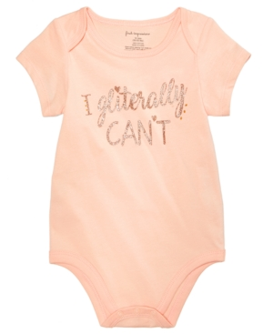 First Impressions Baby Girls Gliterally Cant Cotton Bodysuit Created for Macys