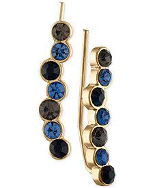 RACHEL Rachel Roy Gold-Tone Blue & Black Stone Crawler Earrings