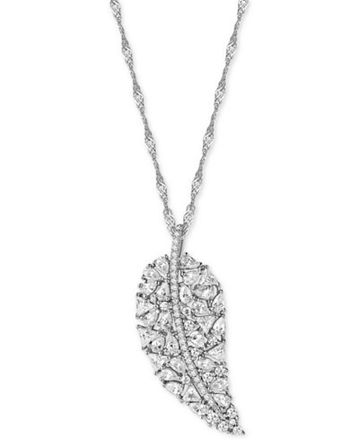 Cubic Zirconia Leaf Pendant Necklace in Sterling Silver