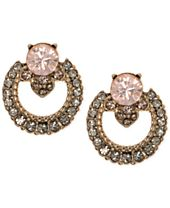 Marchesa Gold-Tone Crystal Open Button Earrings