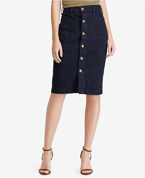 ba234222ba Polo Ralph Lauren Button-Front Denim Pencil Skirt   Reviews - Skirts ...