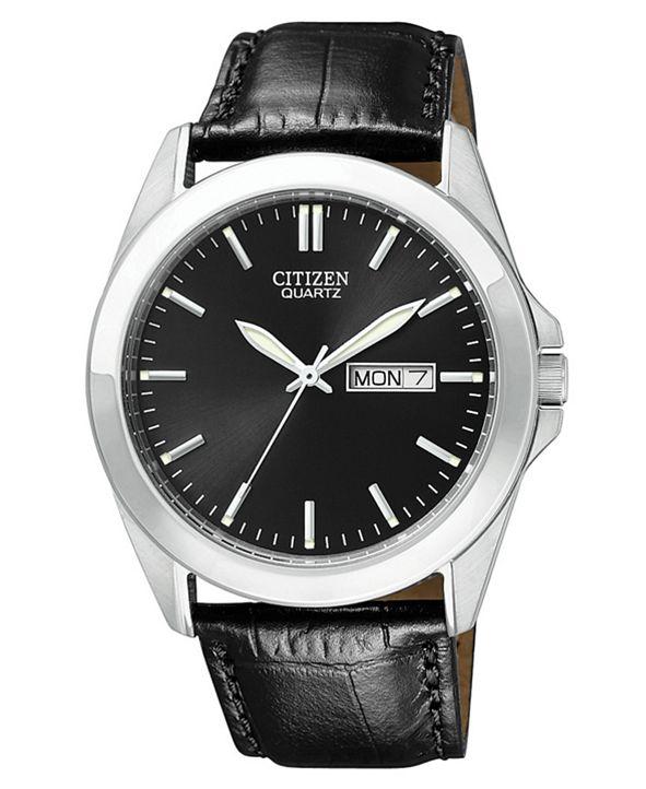 Citizen Men's Black Croc Embossed Leather Strap Watch 41mm BF0580-06E