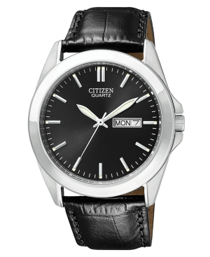 Citizen Men's Black Croc Embossed Leather Strap Watch 41mm BF0580-06E