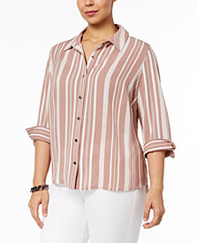 NY Collection Petite Plus Size Multi-Stripe Shirt