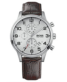 BOSS Hugo Boss Watch, Men's Brown Croc Embossed Leather Strap 1512447