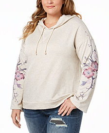 I.N.C. Plus Size Embroidered Hoodie Sweatshirt, Created for Macy's