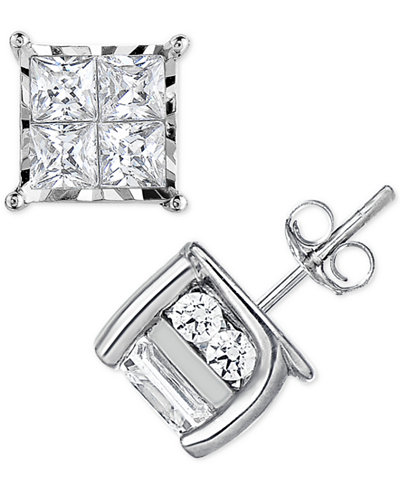 TruMiracle® Diamond Quad Stud Earrings (1 ct. t.w.) in 14k White Gold