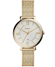 Fossil Women's Jacqueline Gold-Tone Stainless Steel Mesh Bracelet Watch 36mm
