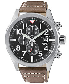 Citizen Men's Chronograph Brown Leather Strap Watch 43mm
