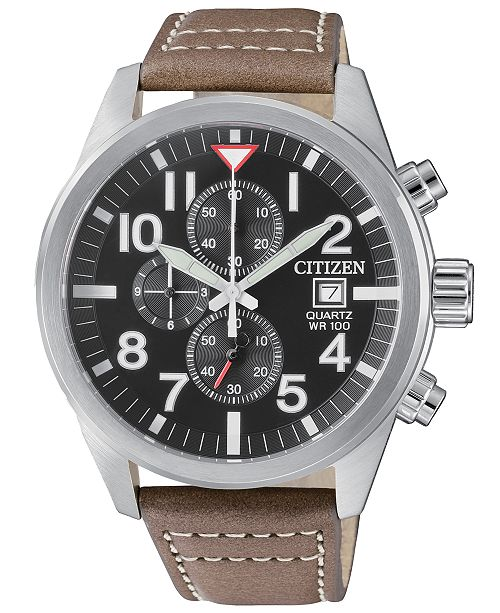 Men's Chronograph Brown Leather Strap Watch 43mm
