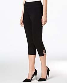 Petite Embellished Lattice Capri Pants, Created for Macy's