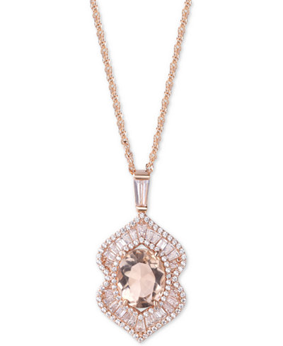 Cubic Zirconia & Simulated Stone Pendant Necklace in Sterling Silver
