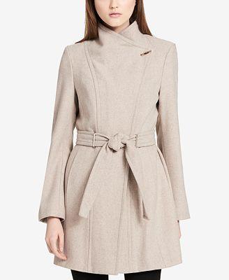 Calvin Klein Pe E Belted Asymmetrical Walker Coat 28 Reviews Main Image