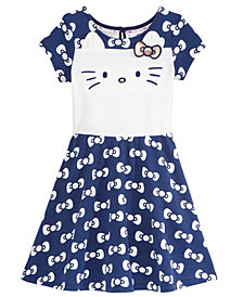 Hello Kitty Embroidered-Face Bow-Print Dress, Toddler Girls