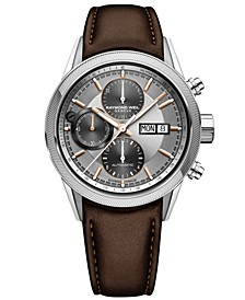 Men's Swiss Automatic Chronograph Freelancer Brown Leather Strap Watch 42mm