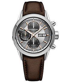 RAYMOND WEIL Men's Swiss Automatic Chronograph Freelancer Brown Leather Strap Watch 42mm