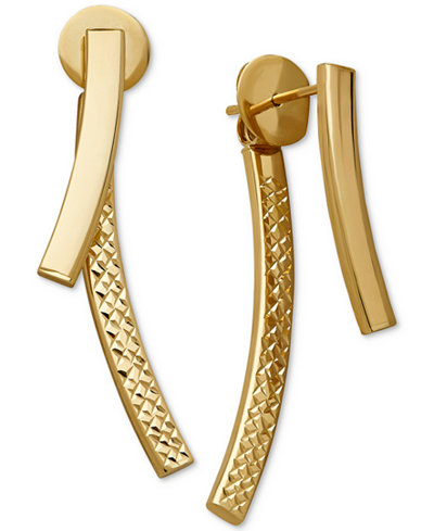 Curved Bar Front and Back Earrings in 14k Gold