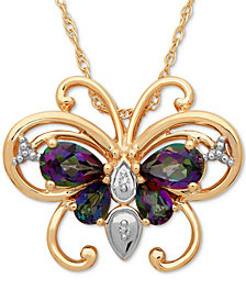 Mystic Topaz (1-3/8 ct. t.w.) & Diamond Accent Two-Tone Butterfly Pendant Necklace in 14k Gold