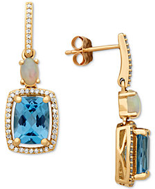 Multi-Gemstone (3-3/4 ct. t.w.) & Diamond (1/5 ct. t.w.) Drop Earrings in 10k Gold