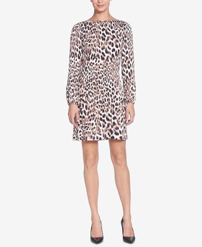 Catherine Catherine Malandrino Petra Pleated Leopard-Printed Shift Dress