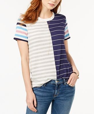 Carbon Copy Short-Sleeve Mixed-Stripe T-Shirt