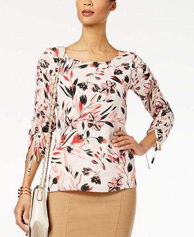 Alfani Petite Printed Drawstring-Sleeve Top, Created for Macy's
