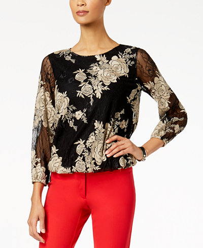 Alfani Embroidered Lace Bubble Top, Created for Macy's