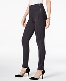 Style & Co Zip-Detail Ponte-Knit Leggings, Created for Macy's
