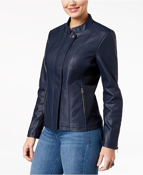 b7b309bdba3 Style   Co Faux-Leather Knit-Contrast Jacket