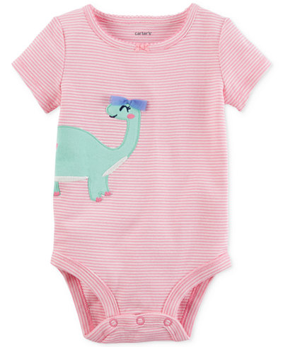 Carter's Striped Dinosaur Cotton Bodysuit, Baby Girls
