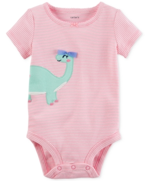 Carters Striped Dinosaur Cotton Bodysuit Baby Girls (024 months)