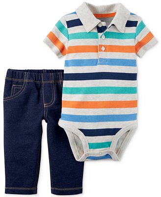 Carter's 2-Pc. Cotton Striped Polo Bodysuit & Pull-On Jeans Set, Baby Boys